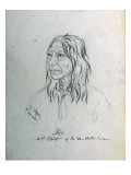 Portrait of Iso 2nd Chief of the Deschutes Indians Giclee Print by Gustav Sohon