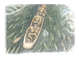 Three Corpsmen in a Dugout Canoe are Viewed from Overhead Giclee Print by Roger Cooke