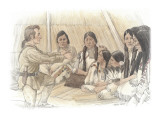Clark and a Group of Indians Inside a Mat Lodge Giclee Print by Roger Cooke
