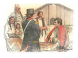 Clark and Lewis with a Group of Four Indians Giclee Print by Roger Cooke
