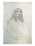 Portrait of Pah-Ca-Poa-Tu-Can Bad Head Pigean Chief Giclee Print by Gustav Sohon