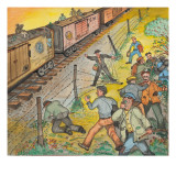 Unemployed Men Robbing an Apple Orchard Giclee Print by Ronald Ginther