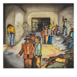 Male Inmates Jailed after a Bloody Fight on Skid Road Giclee Print by Ronald Ginther