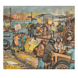 Men and Women in a Washington State Hunger March on U.S. Highway 99 South to Olympia Giclée-tryk af Ronald Ginther