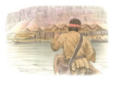 A Corpsman in a Canoe Paddles Toward a Wishram Village Giclee Print by Roger Cooke