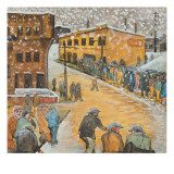 A Breadline on Western Avenue During the Winter Giclée-tryk af Ronald Ginther