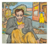 A Man Sitting on the Side Walk with a Tear Coming Down His Face, as He Eats Two Graham Crackers Giclee Print by Ronald Ginther