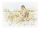 Meriwether Lewis Is Studying a Plant with Clusters of White Flowers Giclee Print by Roger Cooke