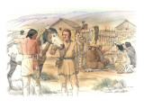 Clark and an Indian are Standing Next to a Horse in the Foreground Giclee Print by Roger Cooke