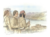 Three Corpsmen and Unknown Man Standing on a Rocky Outcropping Looking at the Snake River Giclee Print by Roger Cooke