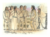 Lewis, Clark, and Sacagawea Meeting a Group of Four Indians in Front of a Mat Lodge Premium Giclee Print by Roger Cooke