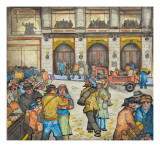 The County-City Building under Siege by Unemployed Demanding Work Giclee Print by Ronald Ginther
