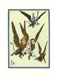 Monkeys Flew Away with Dorothy Wall Decal by William W. Denslow