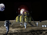 New Spaceship to the Moon, Four Astronauts Could Land on the Moon in the New Lander Photographic Print by  Stocktrek Images