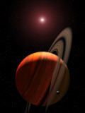 Artist's Concept of a Gas Giant Planet Orbiting a Red Dwarf K Star Photographic Print by  Stocktrek Images
