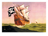 Pirate Ship with Sails All Set, c.1930 Wall Decal by Anton K. Skillin