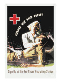Fighting Men Need Nurses: Sign Up at the Red Cross Recruiting Station Wall Decal by J. Whitcomb