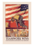 Teamwork Wins: U.S. Shipping Board Emergency Corp. Wall Decal by Hibberd V. B. Kline