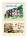 Four-Apartment Two-Story Building Wall Decal by Geo E. Miller