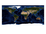 Topographic & Bathymetric Shading of Full Earth Photographic Print by Stocktrek Images