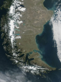 The Snow-Capped Andes Dominate the Left Side of This Image of Southern Chile and Argentina, Photographic Print
