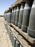 Al Asad, Iraq, Rows of Ammunition are Stacked and Prepped to be Moved into Modular Storage Cells Photographic Print by  Stocktrek Images