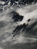 Ship-Wave-Shaped Wave Clouds and Cloud Vortices Induced by the Cape Verde Islands, May 16, 2007 Photographic Print by  Stocktrek Images