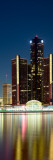 Skyscrapers Lit Up at Dusk, Renaissance Center, Detroit River, Detroit, Michigan, USA Wall Decal by  Panoramic Images