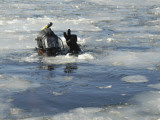 US Navy Diver Signals He is Okay During a Training Mission in the Icy Thames River Photographic Print by  Stocktrek Images