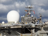 Sea Based X-Band Radar and the USS Abraham Lincoln Photographic Print by  Stocktrek Images
