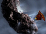 Artist's Concept of Deep Impact's Encounter with Comet Tempel 1 Photographic Print by  Stocktrek Images