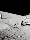 Apollo 15, Astronaut with Tongs and Gnomon in Hand, Studies a Boulder on the Slope of Hadley Delta Photographic Print by  Stocktrek Images