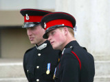 Prince William and Prince Harry after The Sovereign&#39;s Parade that marked the completion of Prince H Photographic Print