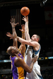 Los Angeles Lakers v Minnesota Timberwolves, Minneapolis, MN - March 1: Kevin Love and Lamar Odom Photographic Print by David Sherman