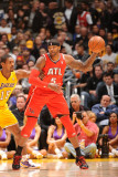 Atlanta Hawks v Los Angeles Lakers, Los Angeles, CA - February 22: Josh Smith and Ron Artest Photographic Print by Andrew Bernstein
