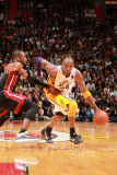 Los Angeles Lakers v Miami Heat, Miami, FL - March 10: Kobe Bryant and Dwyane Wade Photographic Print by Victor Baldizon