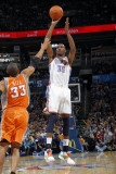Phoenix Suns v Oklahoma City Thunder, Oklahoma City, OK - March 6 : Kevin Durant and Grant Hill Photographic Print by Layne Murdoch