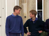 Prince William and Prince Harry at Highgrove discussing Prince William's driving lesson in Ford Foc Photographic Print