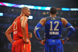 2011 NBA All Star Game, Los Angeles, CA - February 20: Tim Duncan and Dwight Howard Photographic Print by Garrett Ellwood