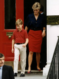 Princess Diana with Prince William leaving Wetherby School Fotografisk tryk