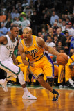 Los Angeles Lakers v Boston Celtics, Boston, MA - February 10: Derek Fisher and Rajon Rondo Photographic Print by Brian Babineau