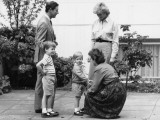 Prince Charles and Princess Diana with Prince William and Prince Harry, meet the headmistress as Ha Photographic Print