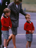 Princess Diana Princess of Wales arriving at Dyce Airport Aberdeen with Prince William and Prince H Photographic Print