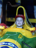 Prince William in F1 Benetton car at British Grand Prix , July 1992 Photographic Print