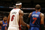 New York Knicks v Miami Heat, Miami - February 27: LeBron James and Carmelo Anthony Photographic Print by Issac Baldizon