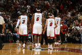 Orlando Magic v Miami Heat, Miami, FL - March 3: Dwyane Wade, LeBron James, Mike Bibby and Chris Bo Photographic Print by Issac Baldizon