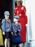 Prince William with the Princess Of Wales and Prince Harry on Harry's first day at school Photographic Print
