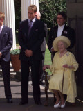 Prince William bends down to talk to The Queen Mother outside Clarence House where she was celebrat Photographic Print
