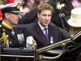 Prince Andrew and Prince William ride down the Mall towards St Paul's, 2002 Photographic Print
