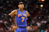 New York Knicks v Miami Heat, Miami, FL - February 27: Carmelo Anthony Photographic Print by Mike Ehrmann